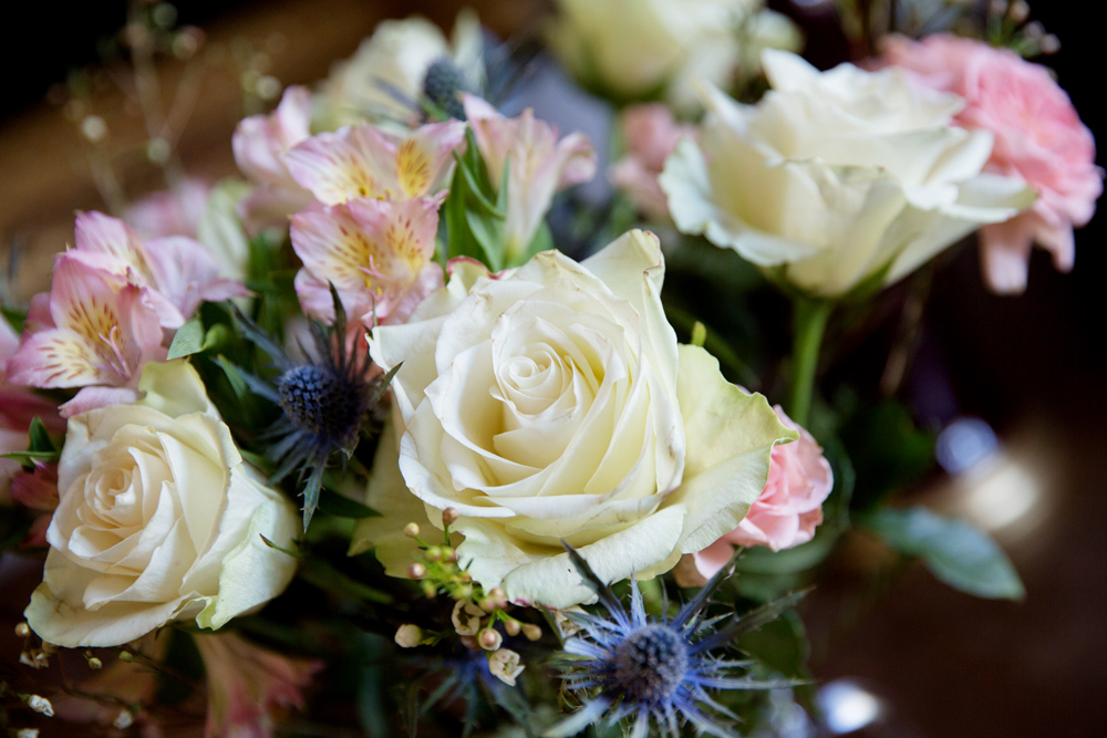 bridal flowers from winter wedding at Hoath House by Helen England Photography, Kent