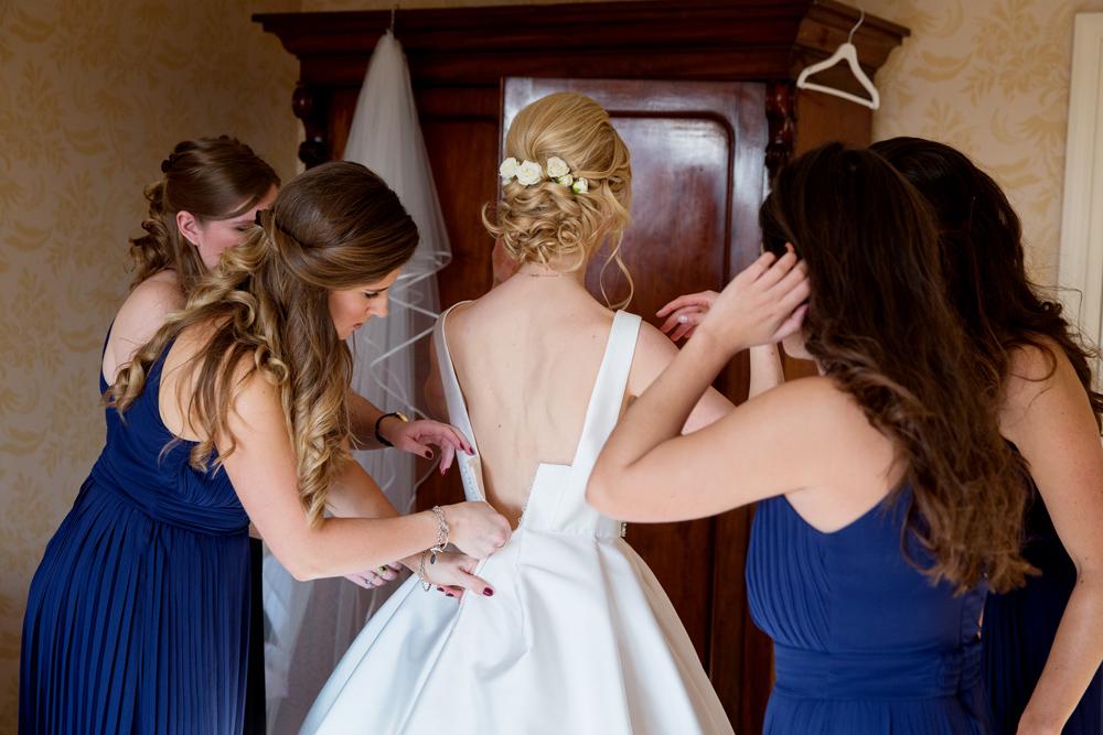 wedding dress - winter wedding at Hoath House by Helen England Photography, Kent