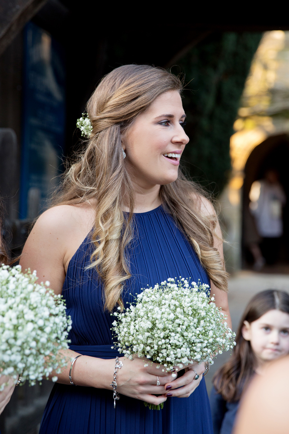 bridesmaid - winter wedding at Hoath House by Helen England Photography, Kent