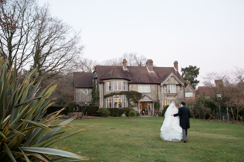 Bride & Groom - winter wedding at Hoath House by Helen England Photography, Kent