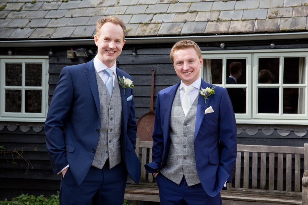 groomsmen, winter wedding at Upwaltham Barns by Helen England Photography, Kent