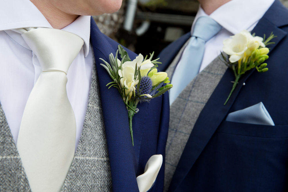 groomsmen button holes, winter wedding at Upwaltham Barns by Helen England Photography, Kent