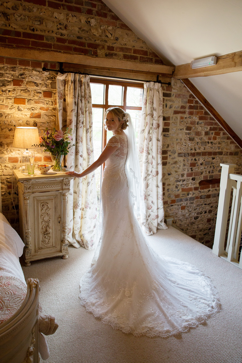 wedding dress, winter wedding at Upwaltham Barns by Helen England Photography, Kent