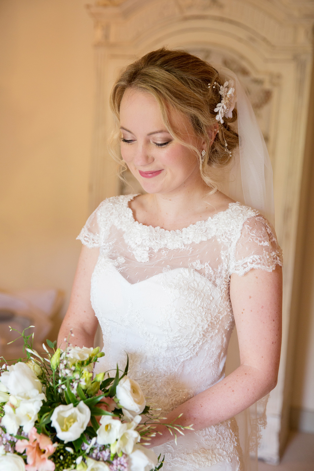 bride, winter wedding at Upwaltham Barns by Helen England Photography, Kent