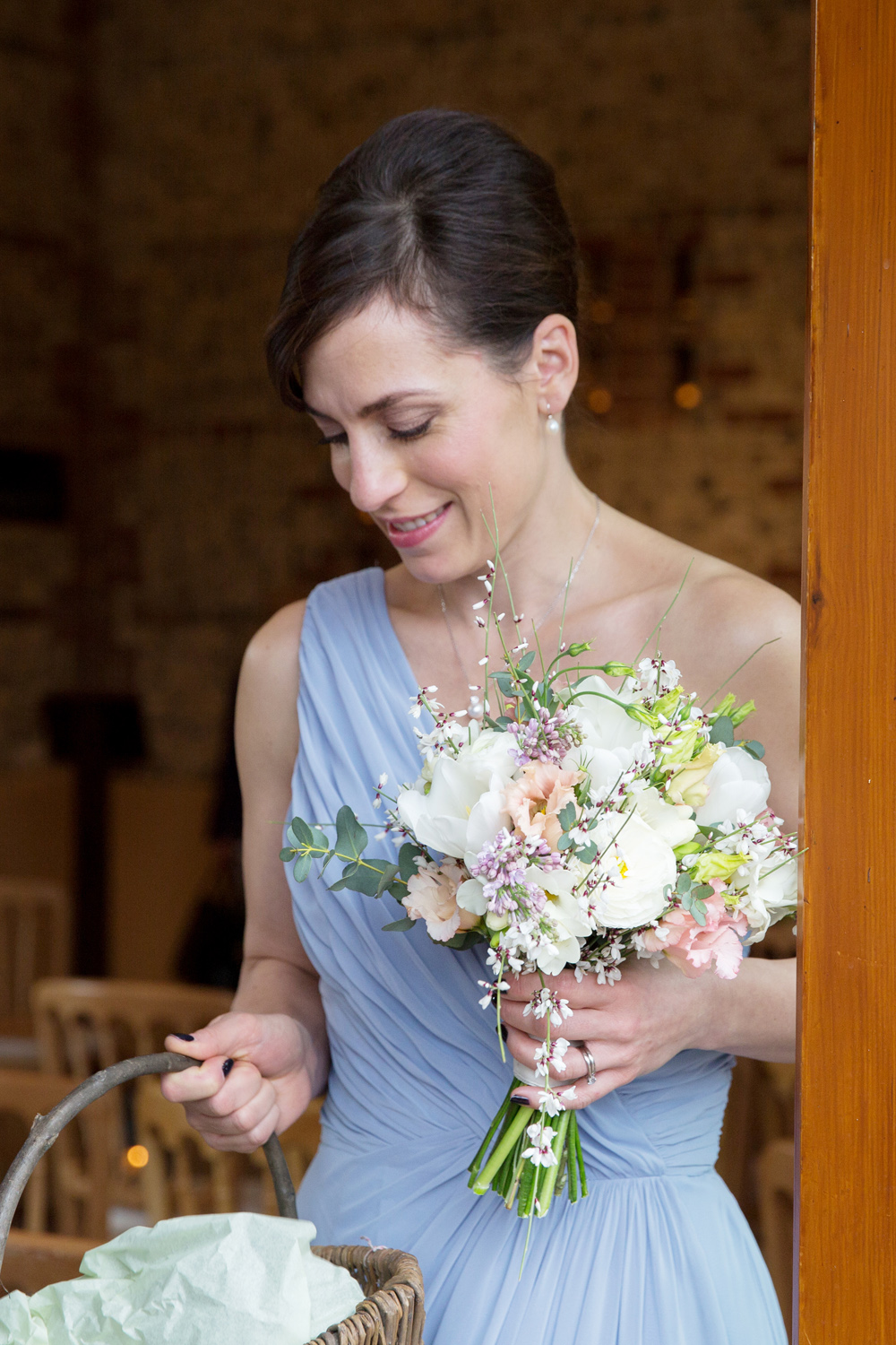 bridesmaid, winter wedding at Upwaltham Barns by Helen England Photography, Kent