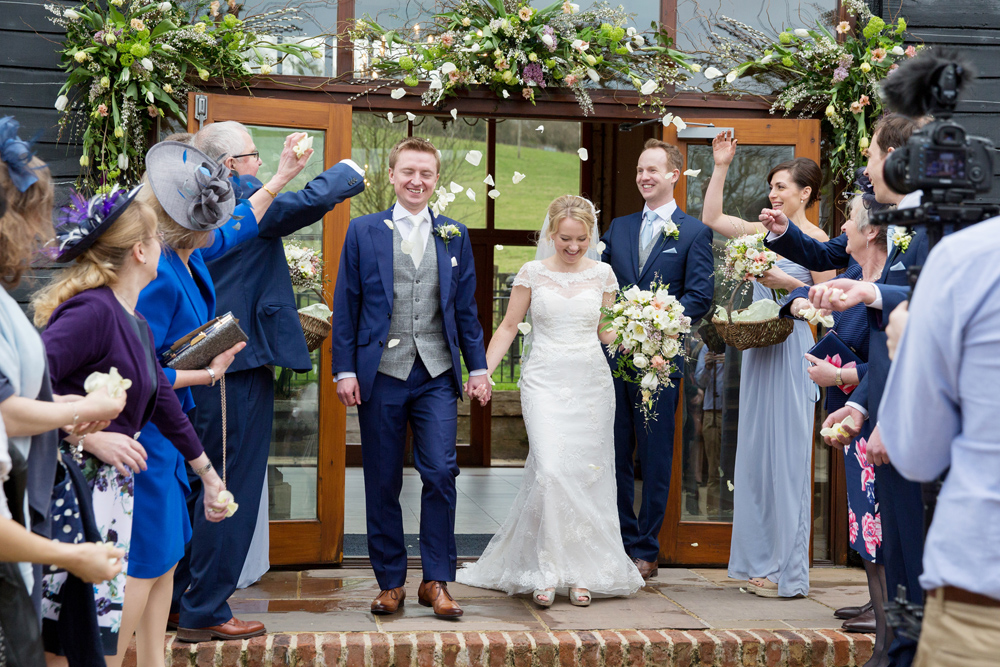 confetti, winter wedding at Upwaltham Barns by Helen England Photography, Kent