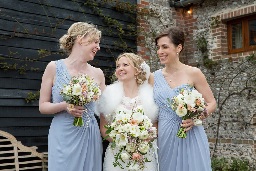 bridesmaids, winter wedding at Upwaltham Barns by Helen England Photography, Kent