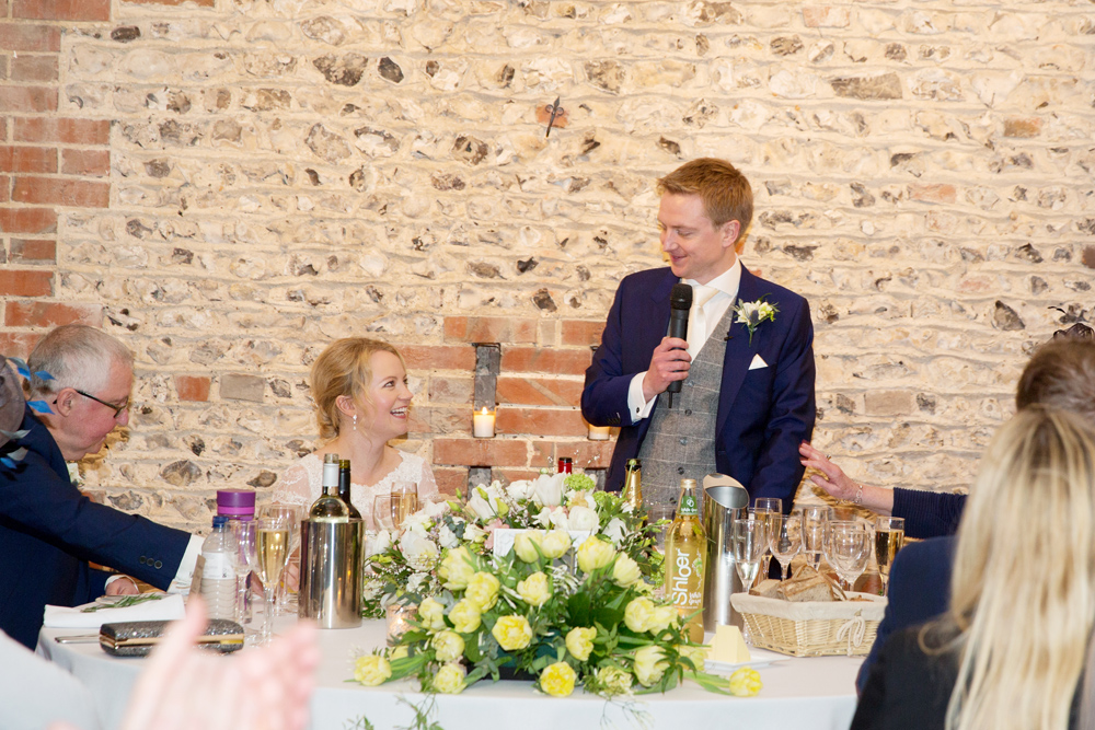speeches, winter wedding at Upwaltham Barns by Helen England Photography, Kent