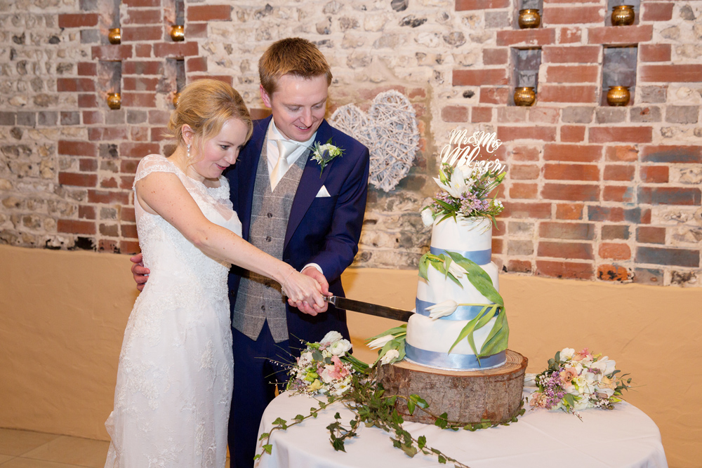 wedding cake, winter wedding at Upwaltham Barns by Helen England Photography, Kent
