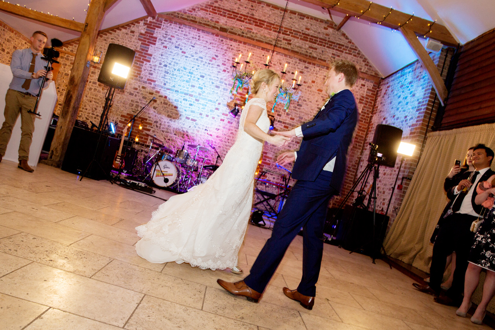 first dance, winter wedding at Upwaltham Barns by Helen England Photography, Kent