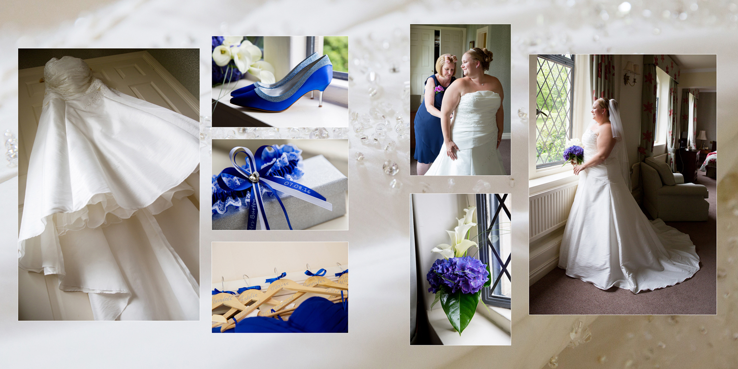 wedding dress, wedding shoes, blue wedding at Ashdown Park Hotel by Helen England Photography