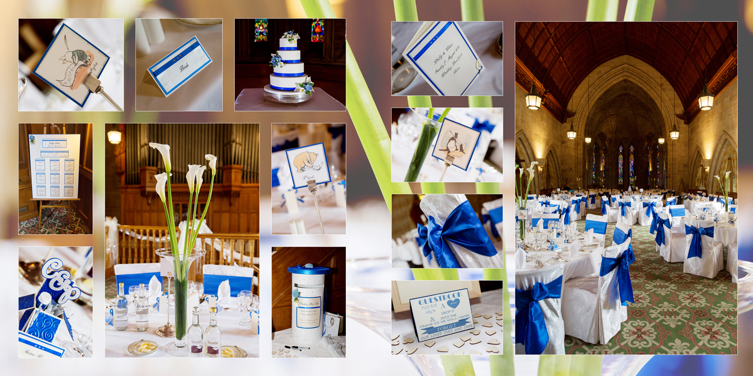 wedding decor, blue wedding at Ashdown Park Hotel by Helen England Photography