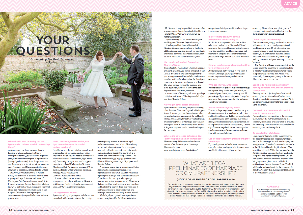 Helen England Photography featured in A Kentish Ceremony magazine at Archbishops Palace, Maidstone, Kent