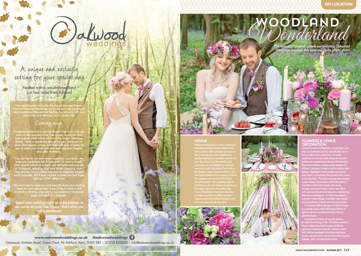 Helen England Photography featured in A Kentish Ceremony magazine, styled shoot at Oakwood Weddings, Ashford, Kent