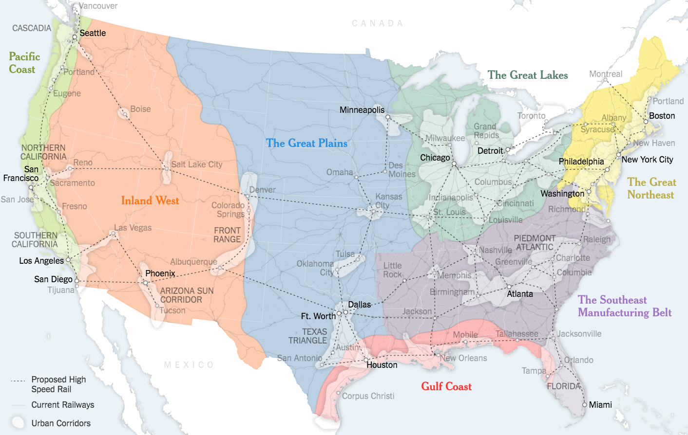How the lower 48 states could be realigned into seven mega-regions (larger).Credit Sources: Joel Kotki (boundaries and names of 7 mega-regions); Forbes Magazin; Regional Plan Association; Census Bureau; nited State High Speed Rail Association; Clare Trainor/University of Wisconsin-Madison Cartography Laboratory.