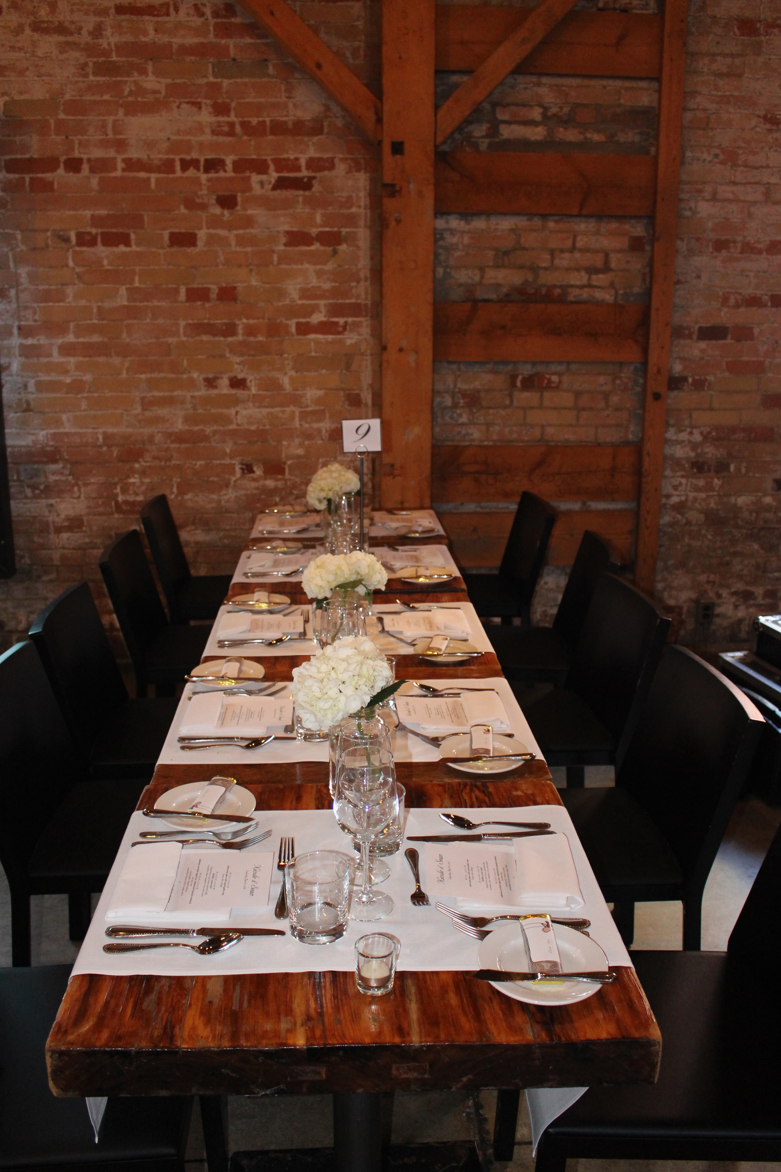 NIcole and Sean's table setting at Archeo, Distillery District, Toronto, ON