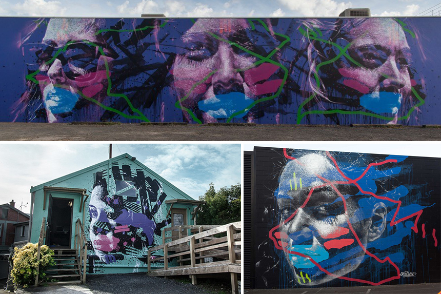 Clockwise from top:  'Maddison, Gemma & Mikaela' Re.Discover Bunbury, AUS '16 | 'Maddison' Street Prints Mauro Mural Festival, NZ '15 | 'Opal' Te Awamutu, NZ '14