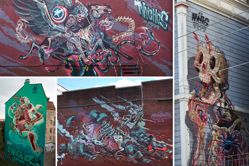 "Clockwise from top left:  'Captain Hercules Fighting Hydra' LA, USA '15 | 'Eat Your Heart Out' San Fransisco, USA '14 | Bushwick, USA '13 | ""Dissection of a Polar Bear' Vienna, AUSTRIA '15"