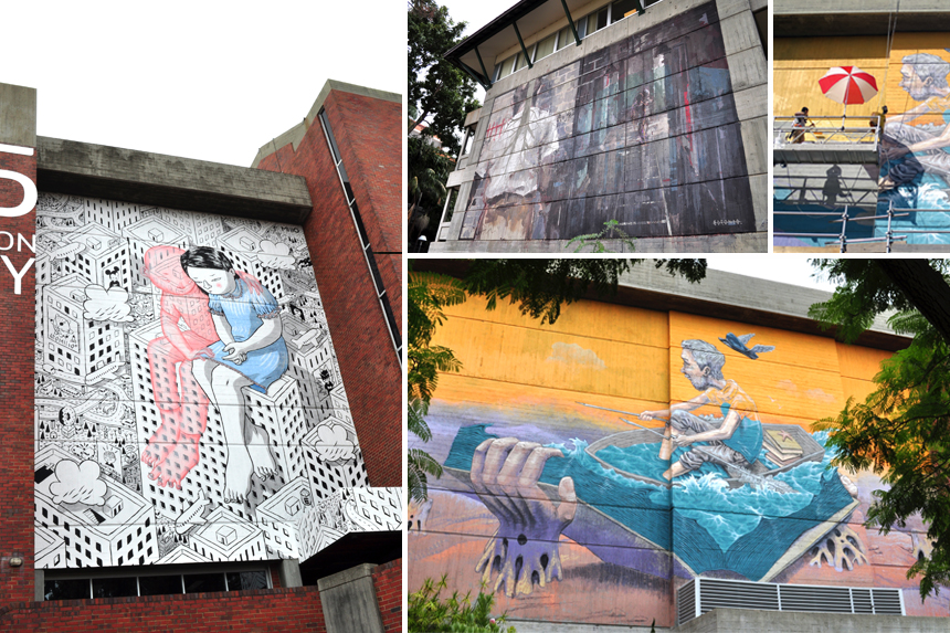 Left:   Millo  |    Top Middle:   Borondo  |   Top Right & Bottom Right:  Rastam Qbic