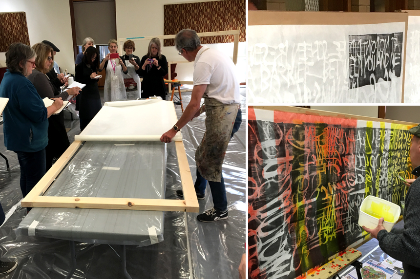 Left:  Stretching the kozo paper onto the panel |  Top right:  Applying the black layer |  Bottom right:  Applying the colour