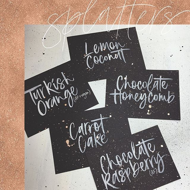 My new favourite labels - rose gold splatters + white writing on black card 😍 I want to try this look for a larger piece now! Thanks Kara + Jase 💕