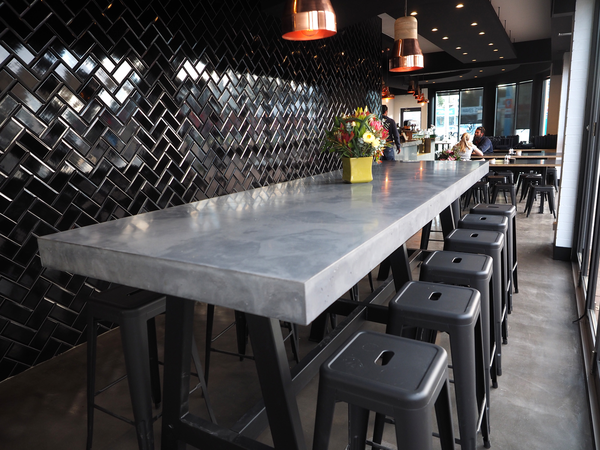 indoor concrete dining table