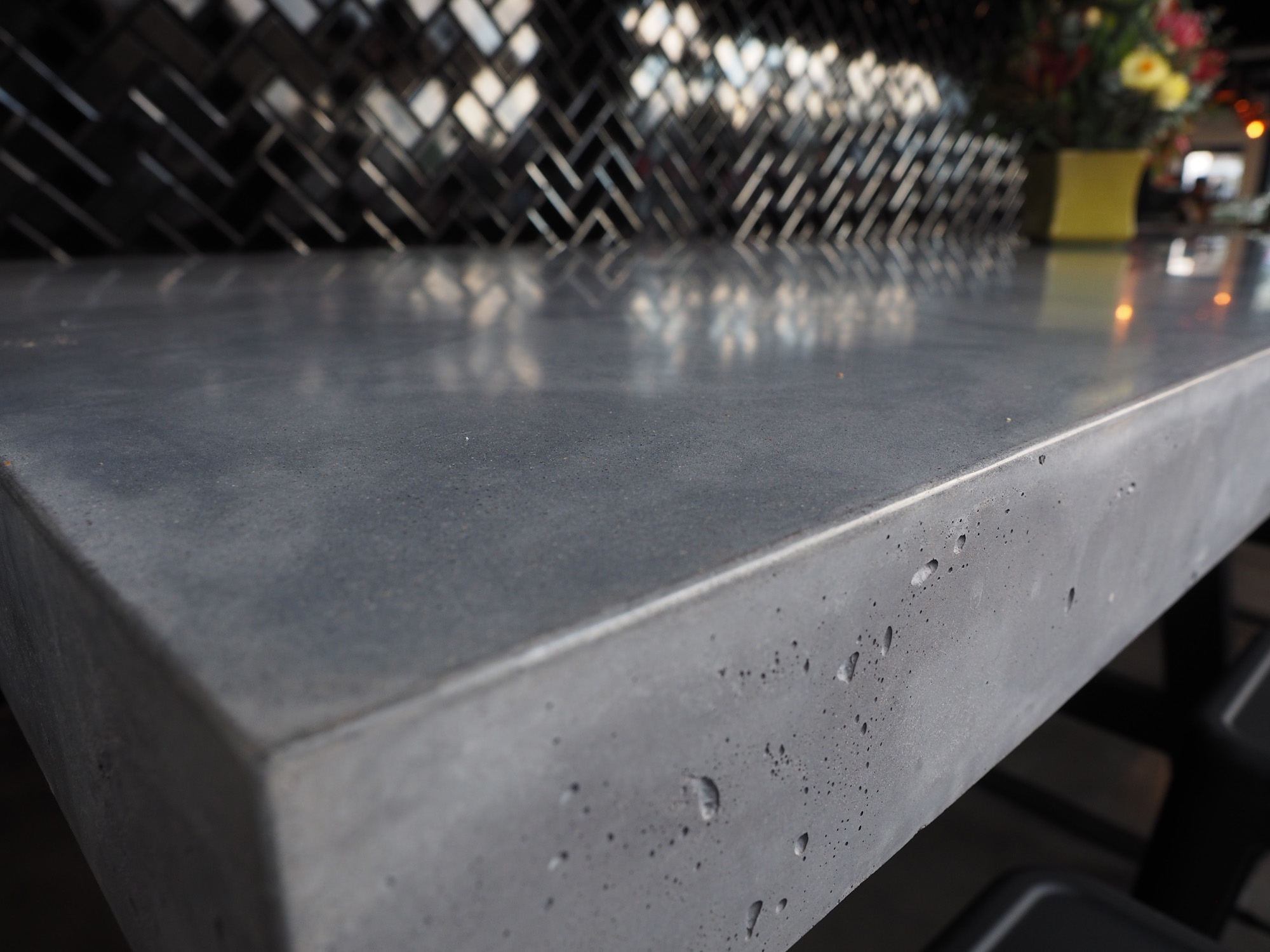 indoor concrete table close up