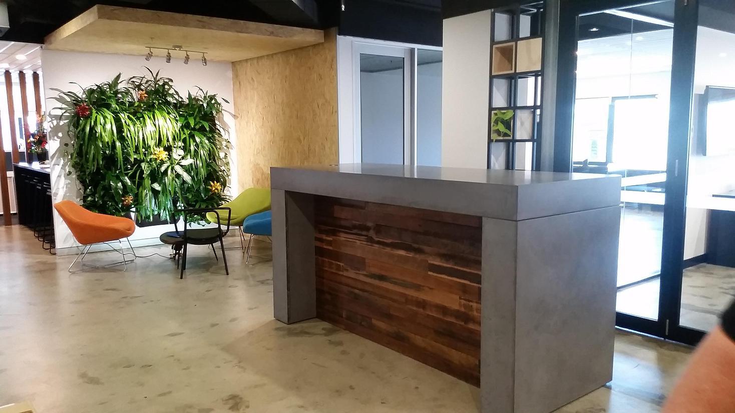 concrete reception benchtop