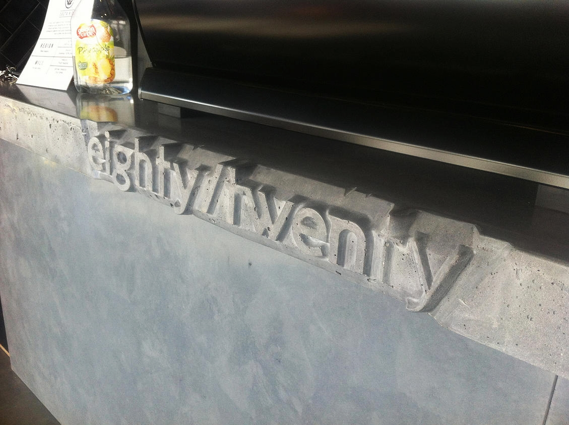 concrete benchtop at eightytwenty close up