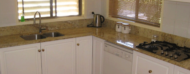 A granite benchtop. Its quality stone, but it looks like 70's lino.