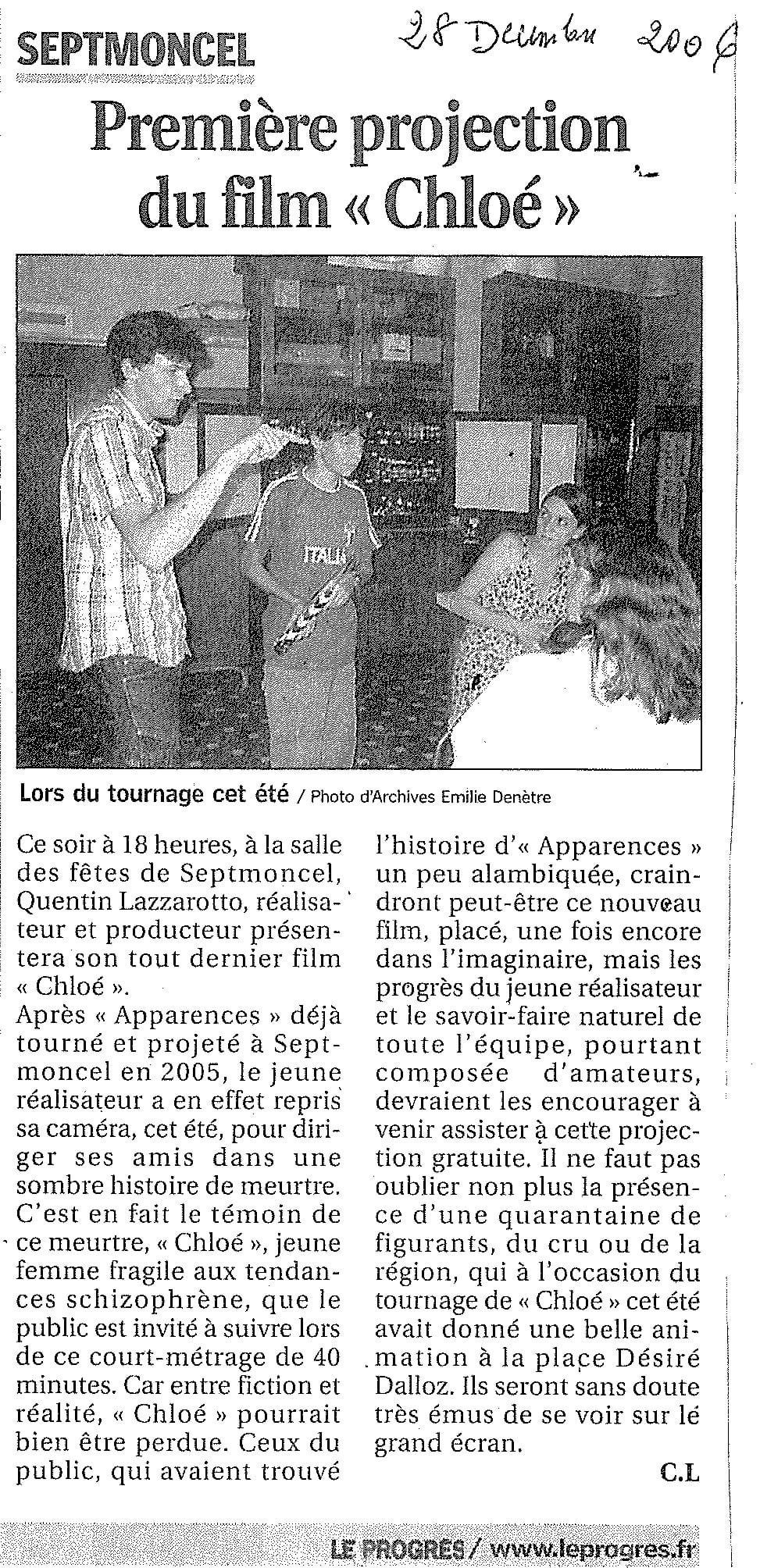 Première projection du film Chloé