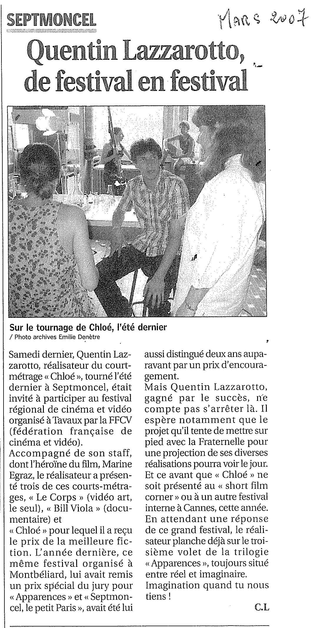 Quentin Lazzarotto de festival en festival