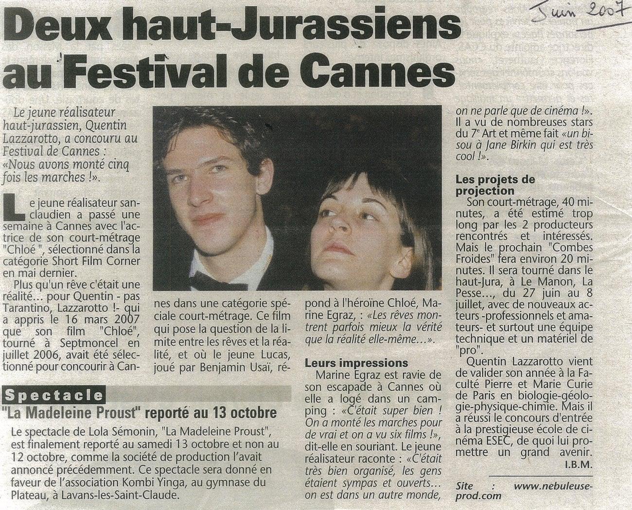 Deux haut-Jurassiens au Festival de Cannes