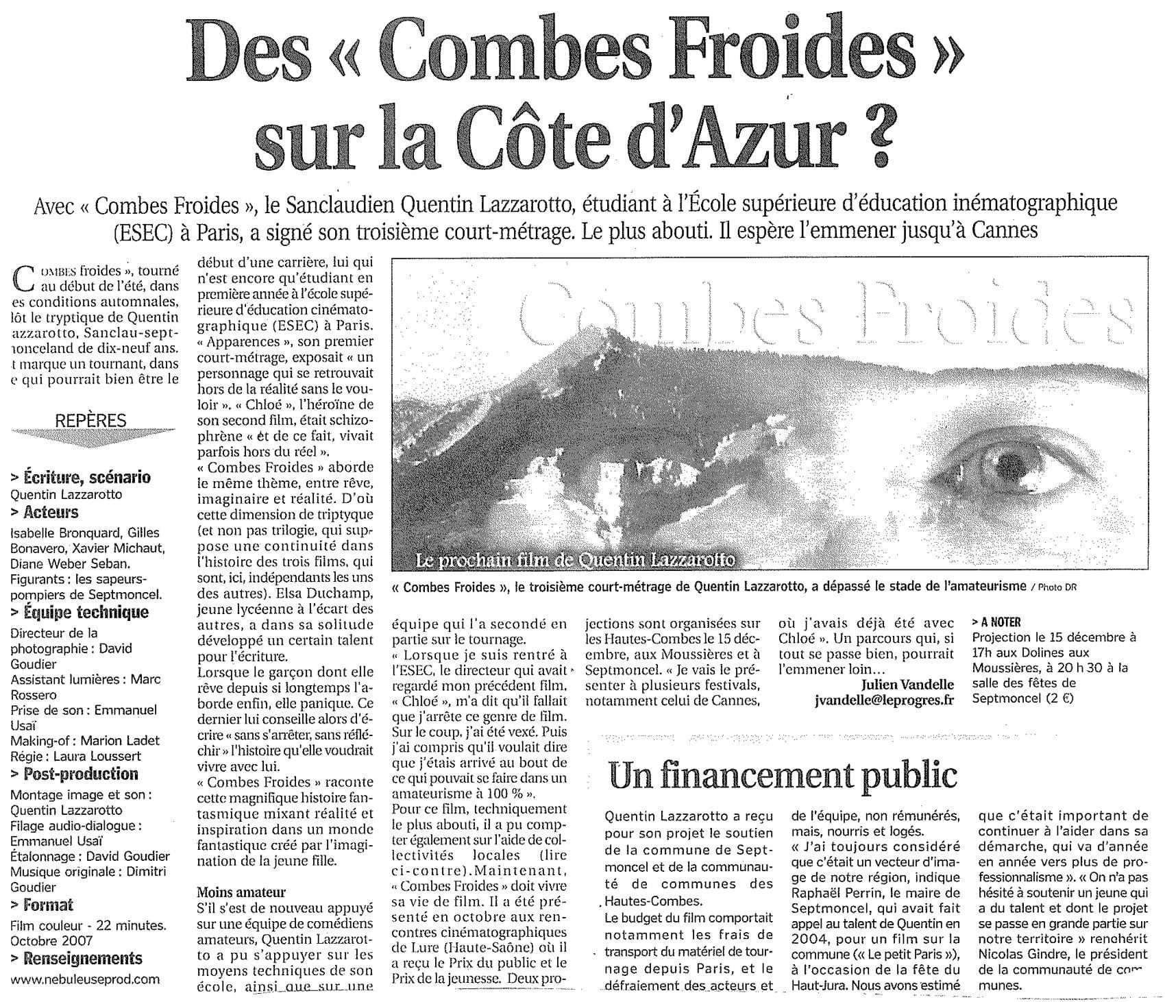 Des Combes Froides sur la Côte d'Azur ?