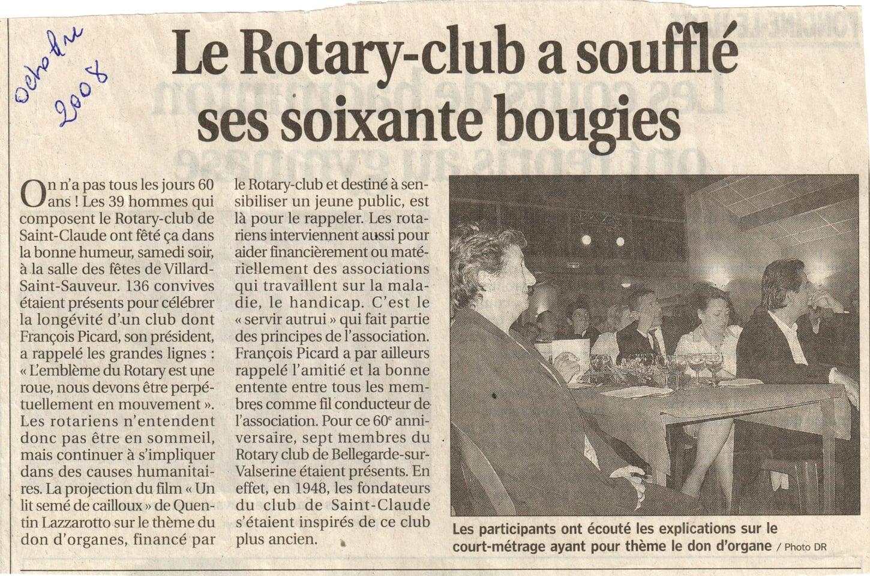 Le Rotary Club a soufflé ses soixante bougies