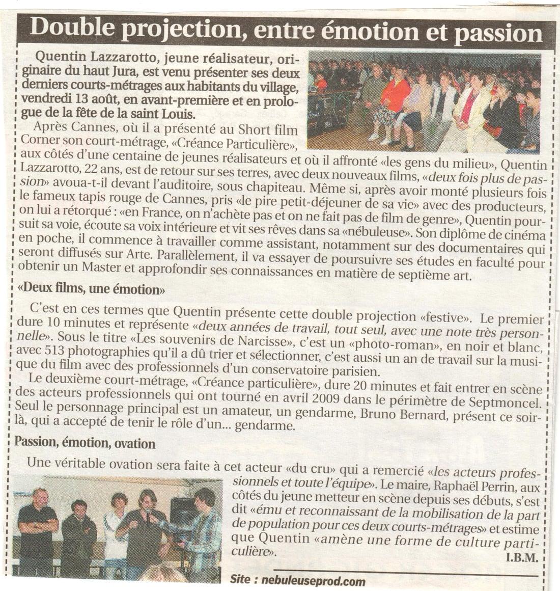 Double projection, entre émotion et passion