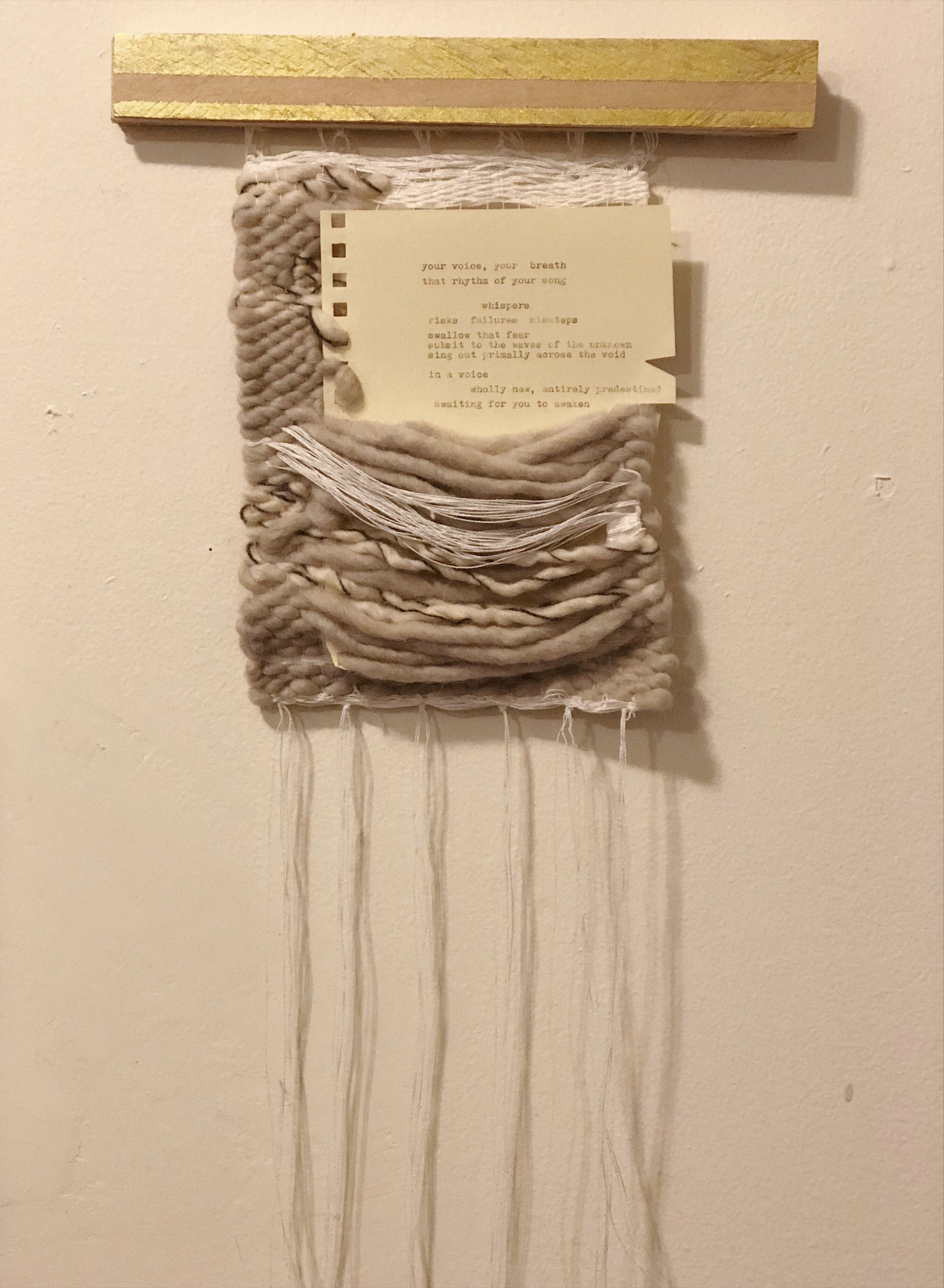 Your voice (2018)  linen, wool, cotton, paper, ink, wood, acrylic paint  18 x 12 x 1in