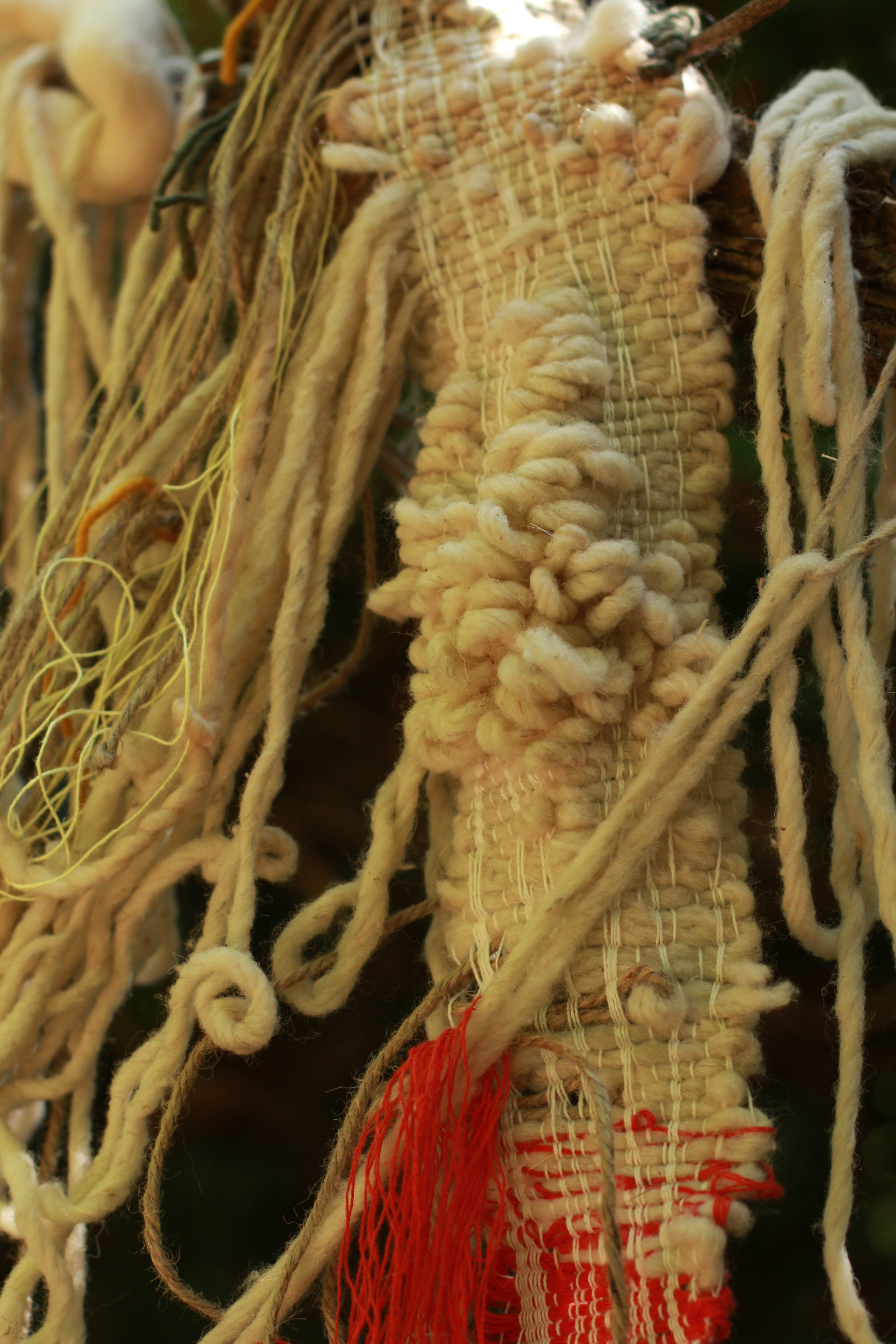 the river within,  detail  (2019)  Naturally dyed cotton, wool, hemp, linen  Site Specific sculpture: Guapamacataro Art and Ecology Center, Michoacan, Mexico  2.5 x 3.5 x .5ft