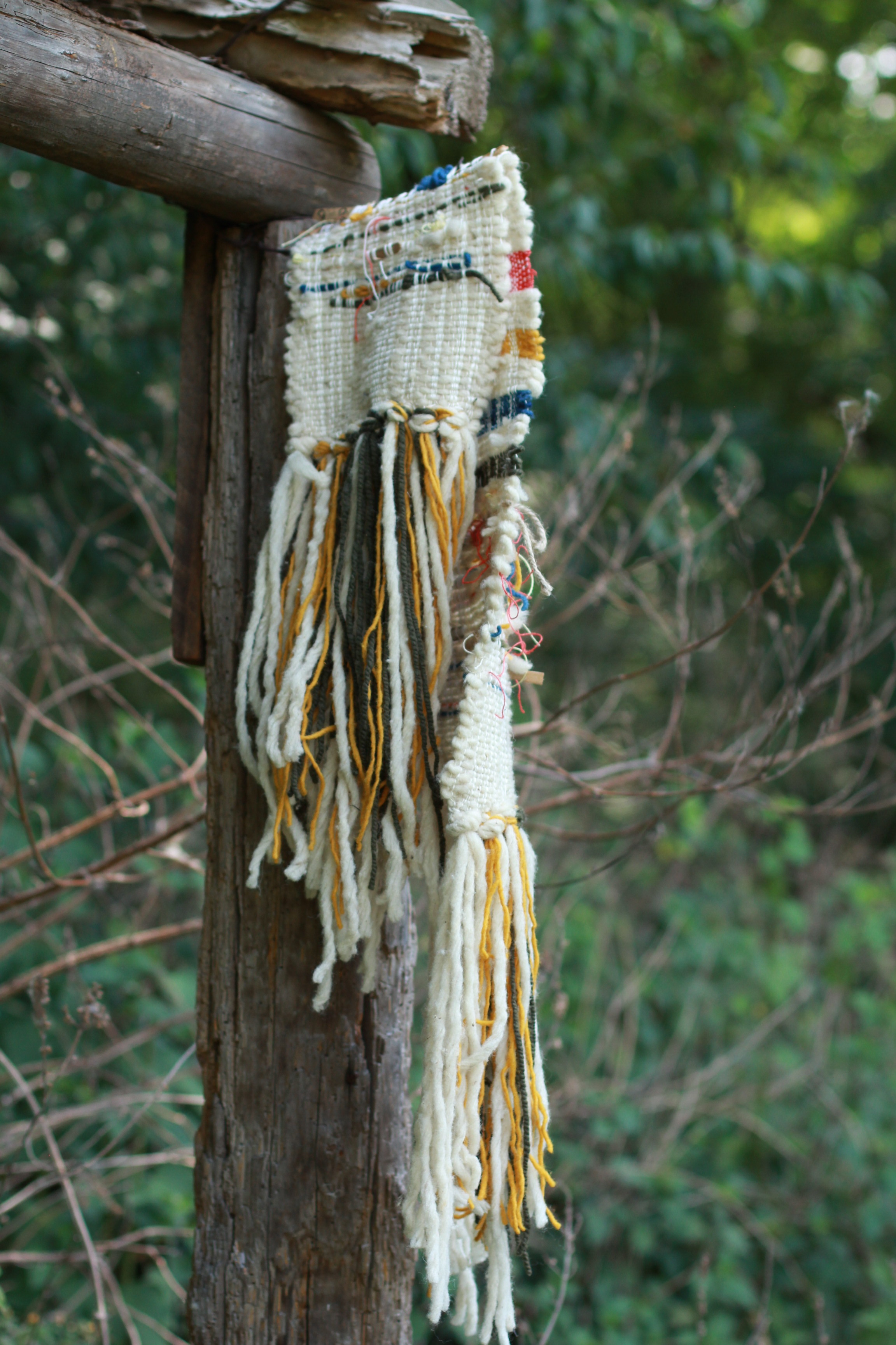 the diamond's eye,  detail  (2019)  Naturally dyed cotton, wool, hemp, linen, eucalyptus leaves  Site Specific sculpture: Guapamacataro Art and Ecology Center, Michoacan, Mexico  42 x 12 x 4in
