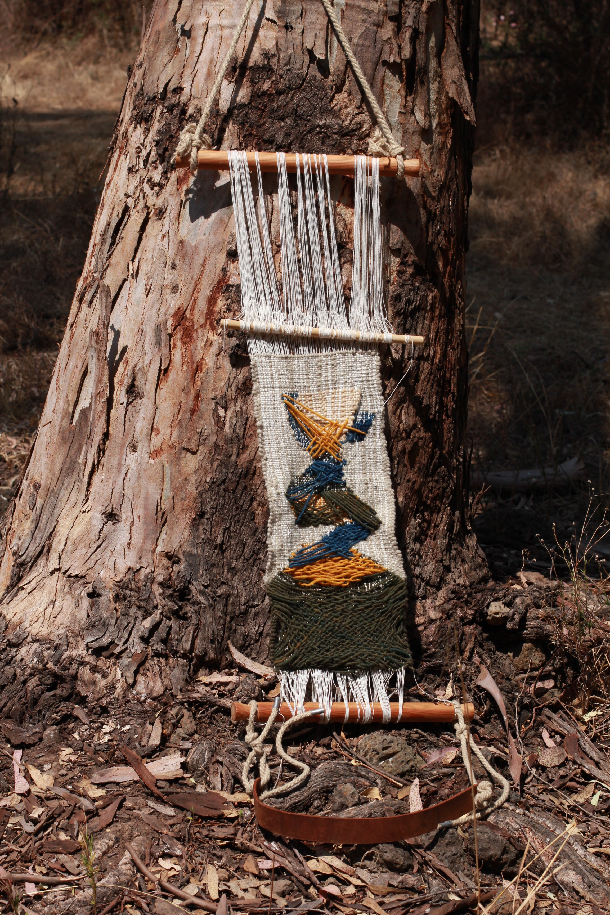 untitled (2019)  Naturally dyed cotton, wool, hemp, linen, backstrap loom  Site Specific sculpture: Guapamacataro Art and Ecology Center, Michoacan, Mexico  3 x 1 x 2ft