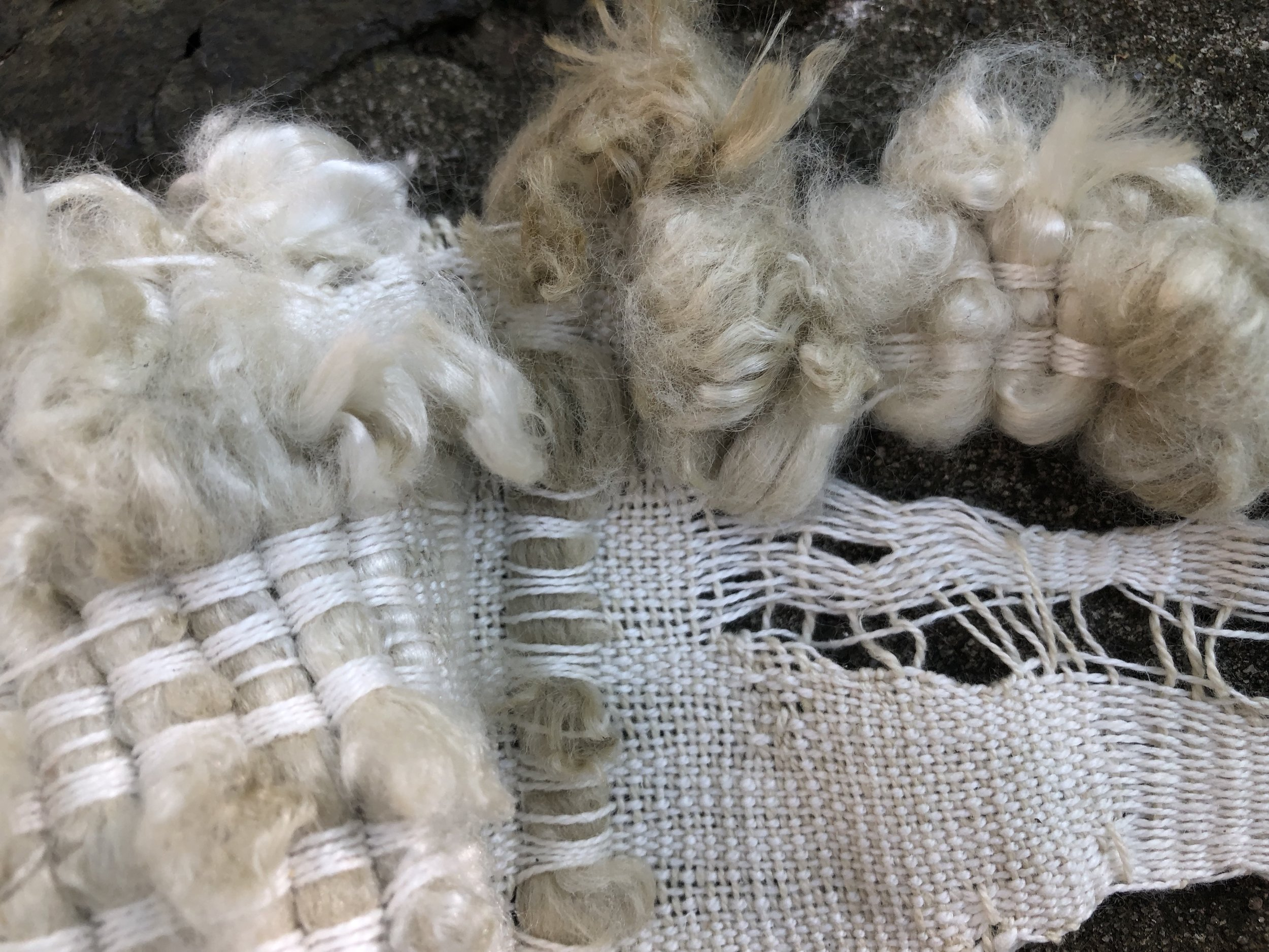 Her Capacity,  detail  (2019)  wool, cotton, linen, bamboo, hemp  Site Specific sculpture: Guapamacataro Art and Ecology Center, Michoacan, Mexico  10 x 24 x 14in