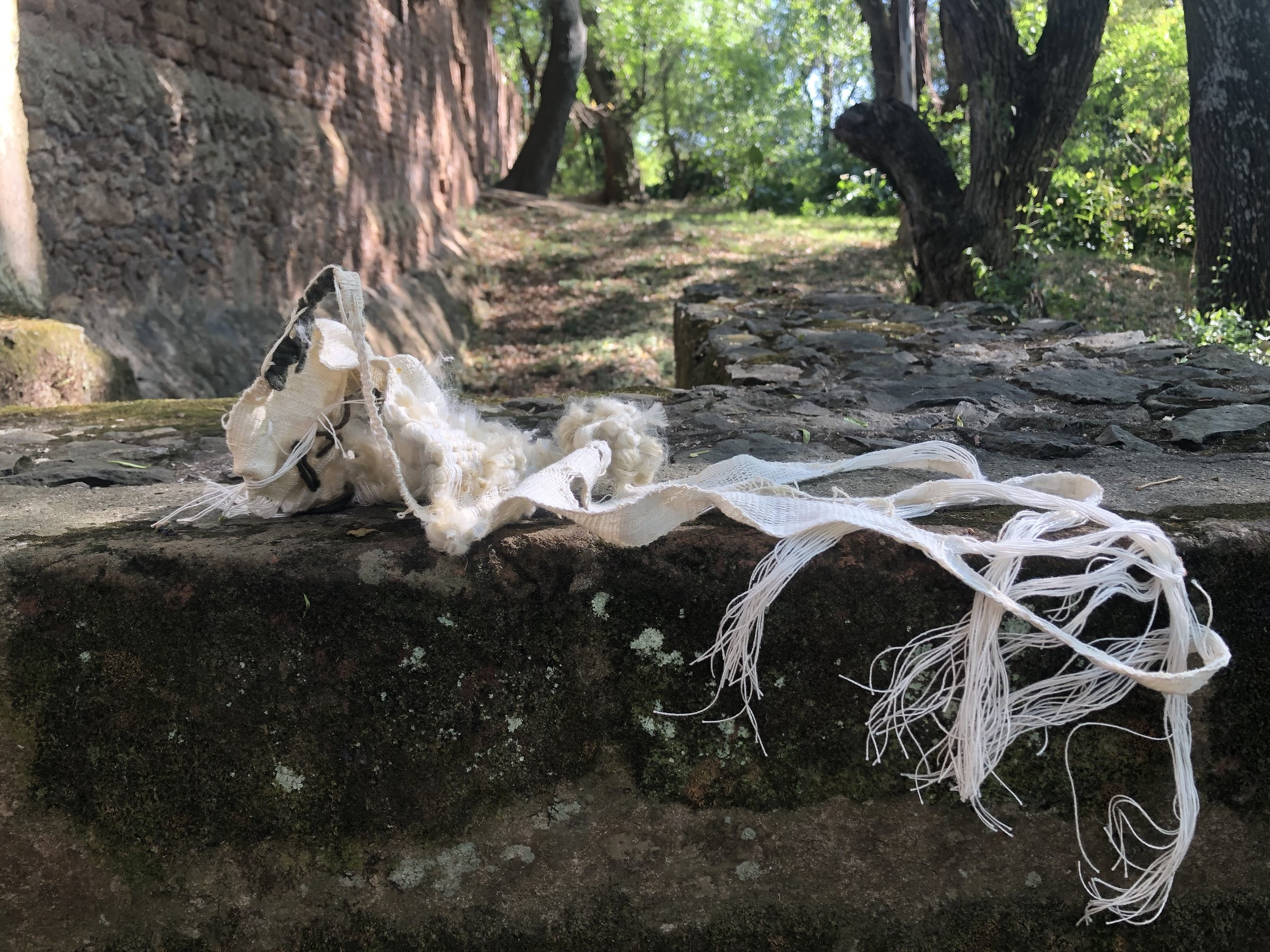 Her Capacity (2019)  wool, cotton, linen, bamboo, hemp  Site Specific sculpture: Guapamacataro Art and Ecology Center, Michoacan, Mexico  10 x 24 x 14in