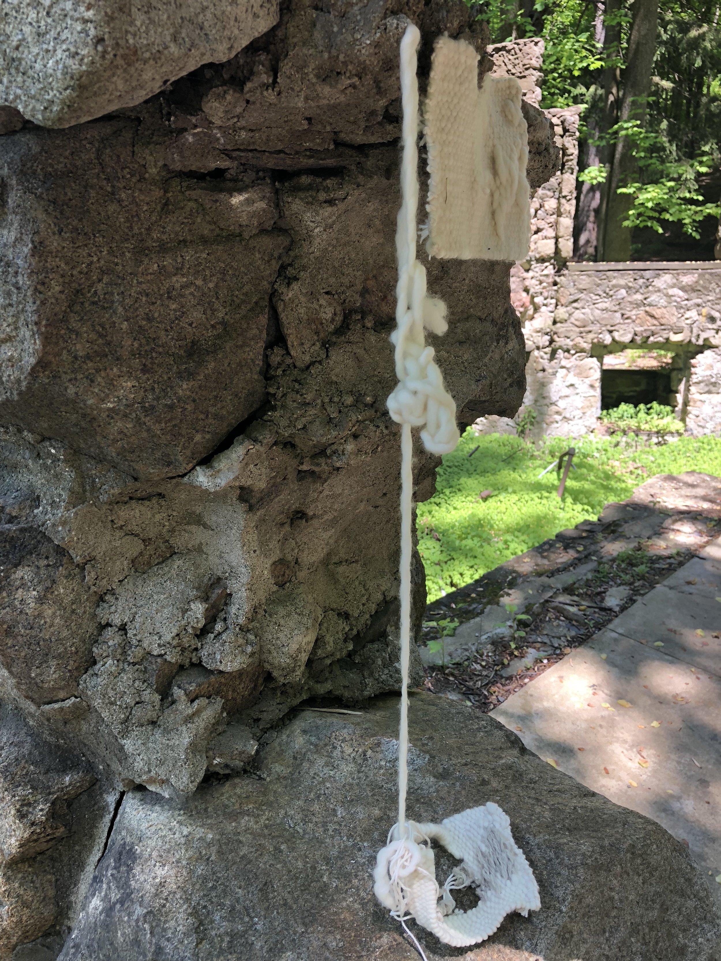 our rain (2018)  wool, silk, cotton  Site Specific sculpture: Cornish Estate, Cold Springs, NY  26 x 6 x 6in