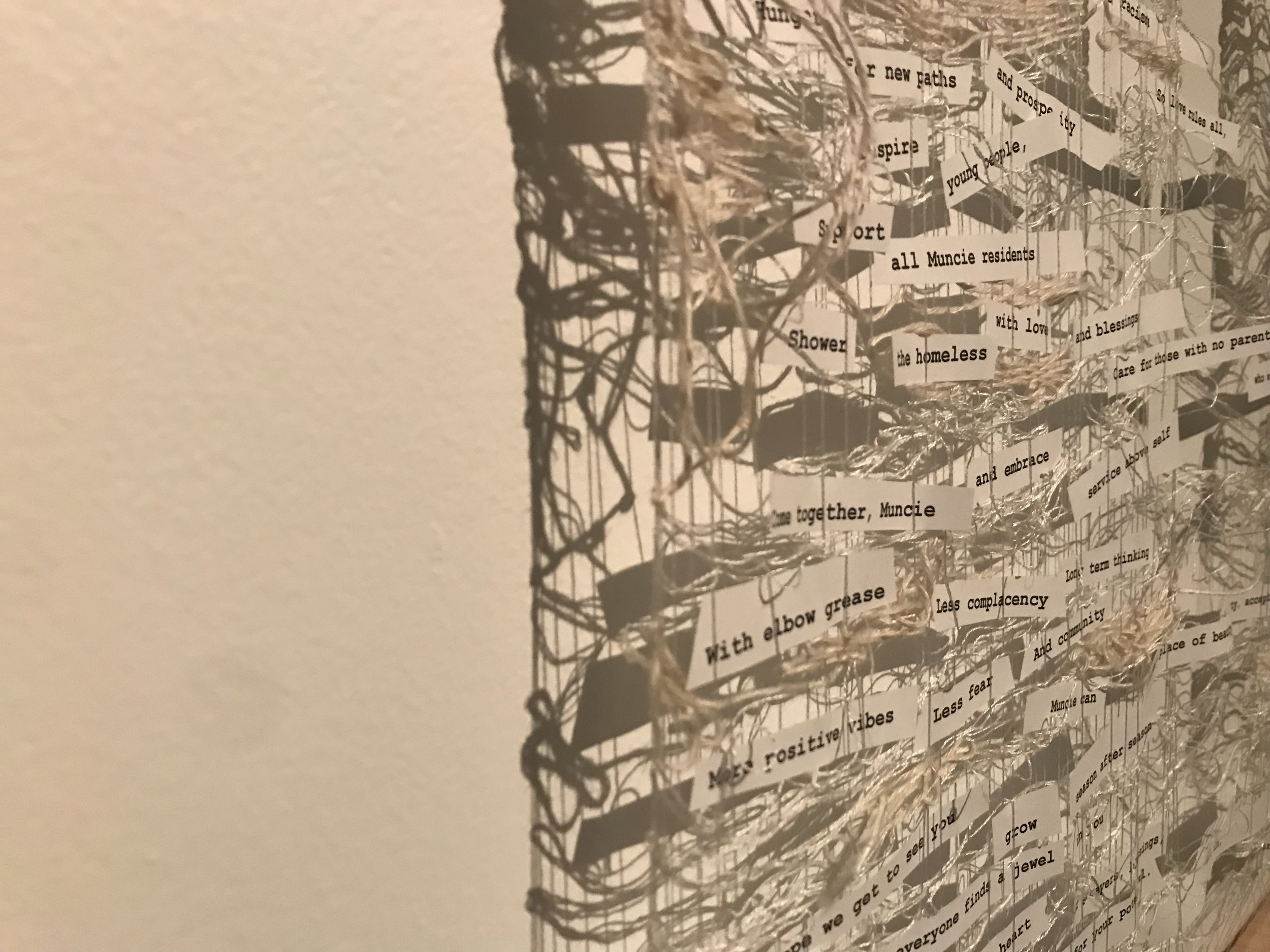 Woven Hopes, A Song to Muncie,  detail (2018)   wood, silk, stainless steel, hemp, paper, ink  36 x 24 x 1in