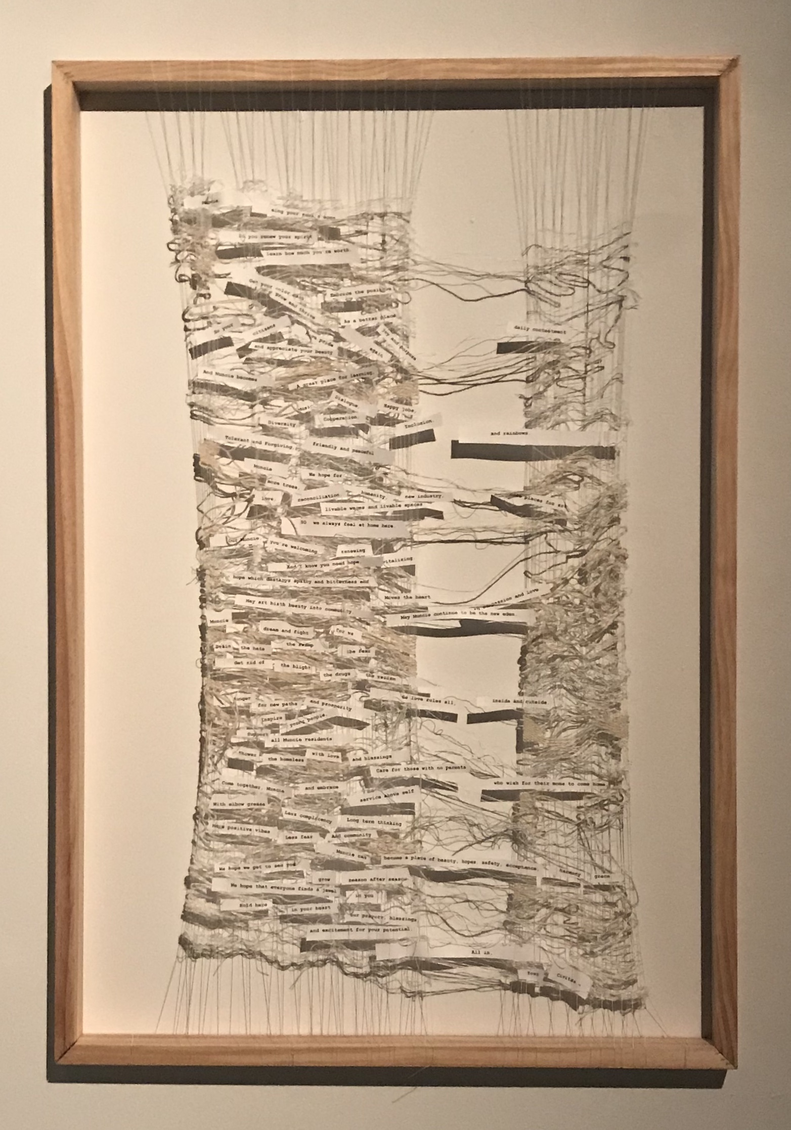 Woven Hopes, A Song to Muncie  (2018)   wood, silk, stainless steel, hemp, paper, ink  36 x 24 x 1in