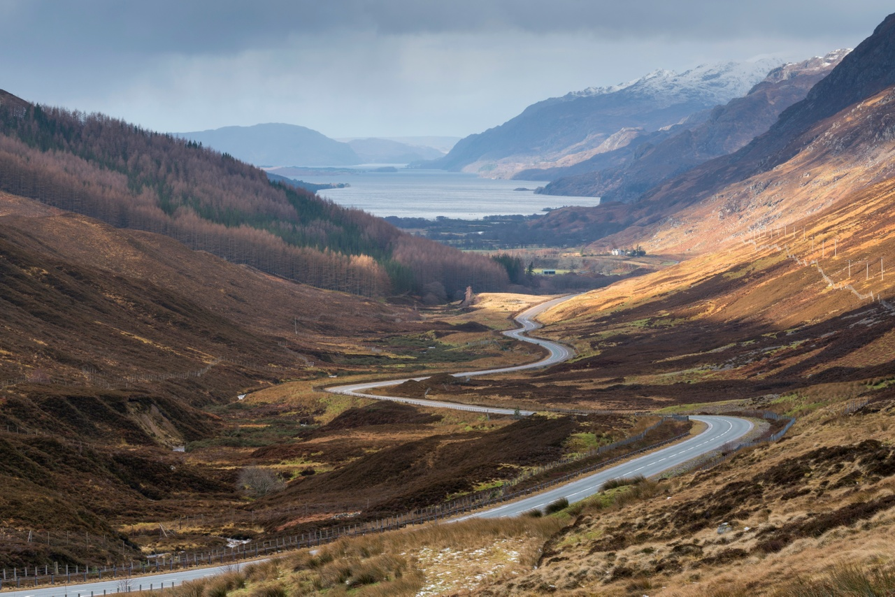 The road to Kinlochewe with Loch Maree beyond.  Credit: Visit Scotland / Kenny Lam