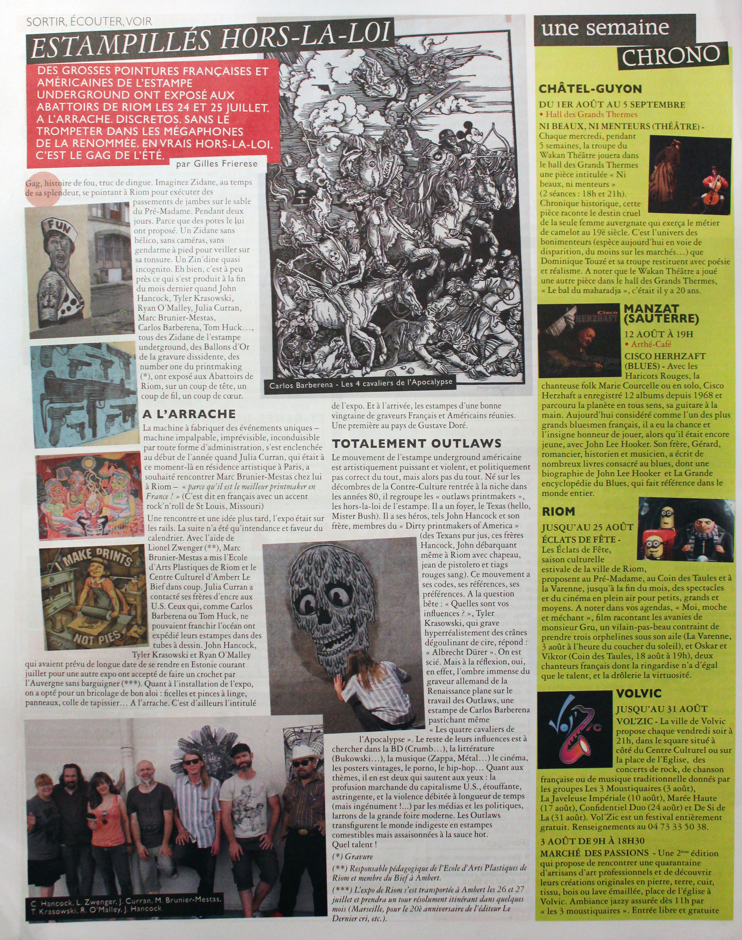 An article in the Riom Annonces newspaper from August 2012 about the A L'Arrache international printmaking exhibition I organized in Riom, France with Marc Brunier Mestas!