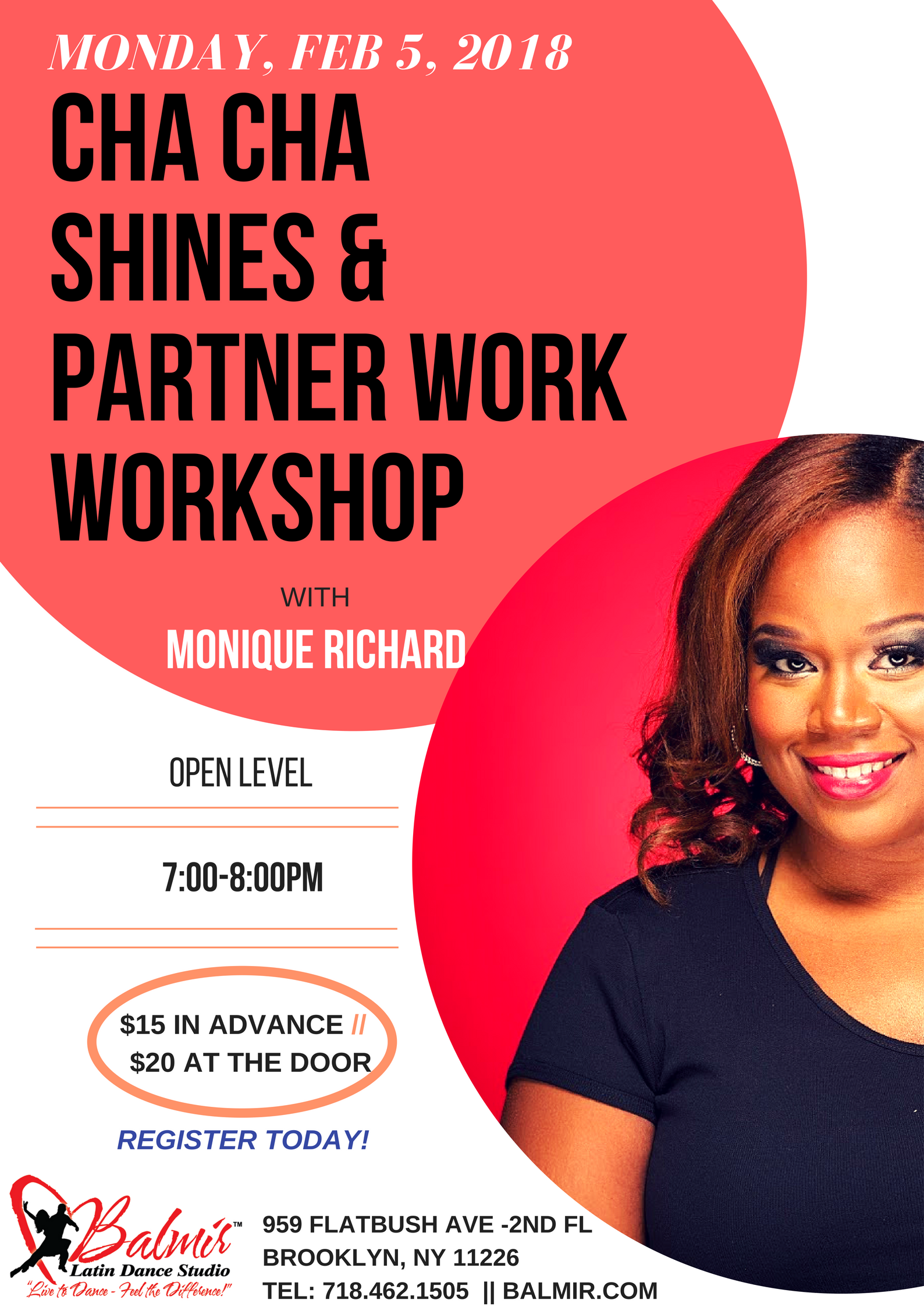 MONDAY, JAN 22, 2018 Cha Cha Shines Workshop