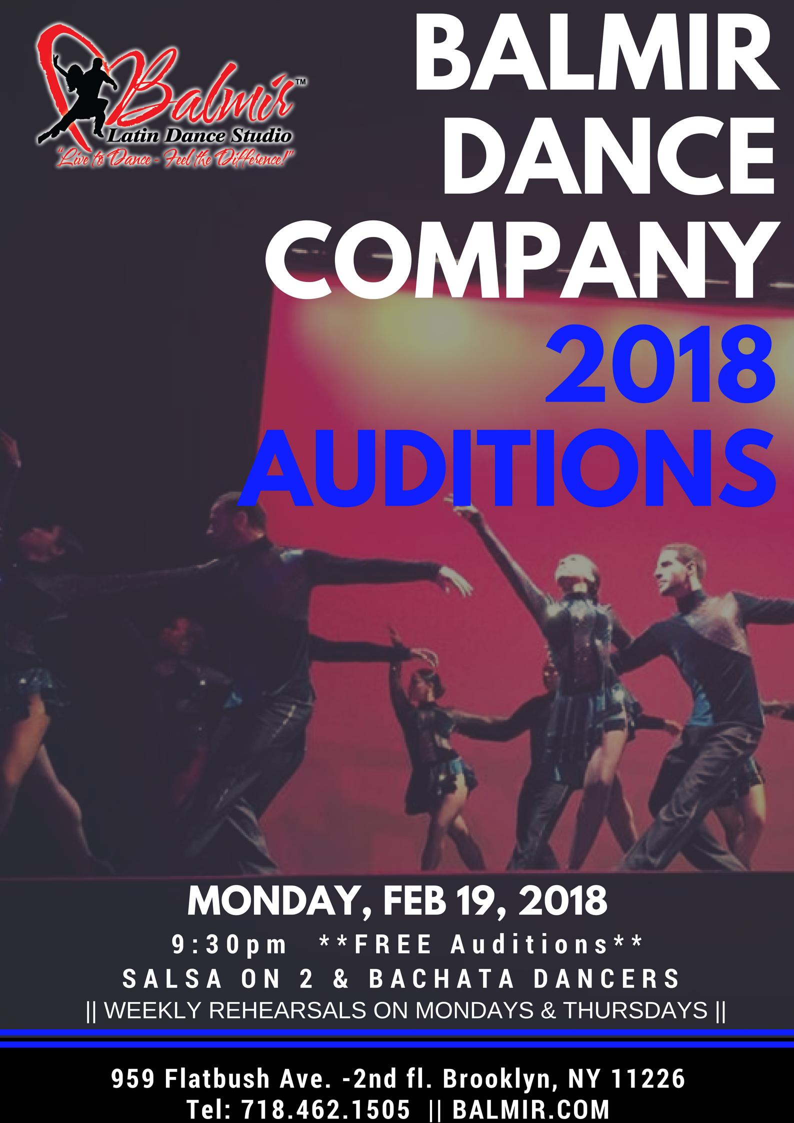 BALMIR LATIN DANCE COMPANY AUDITIONS 2018