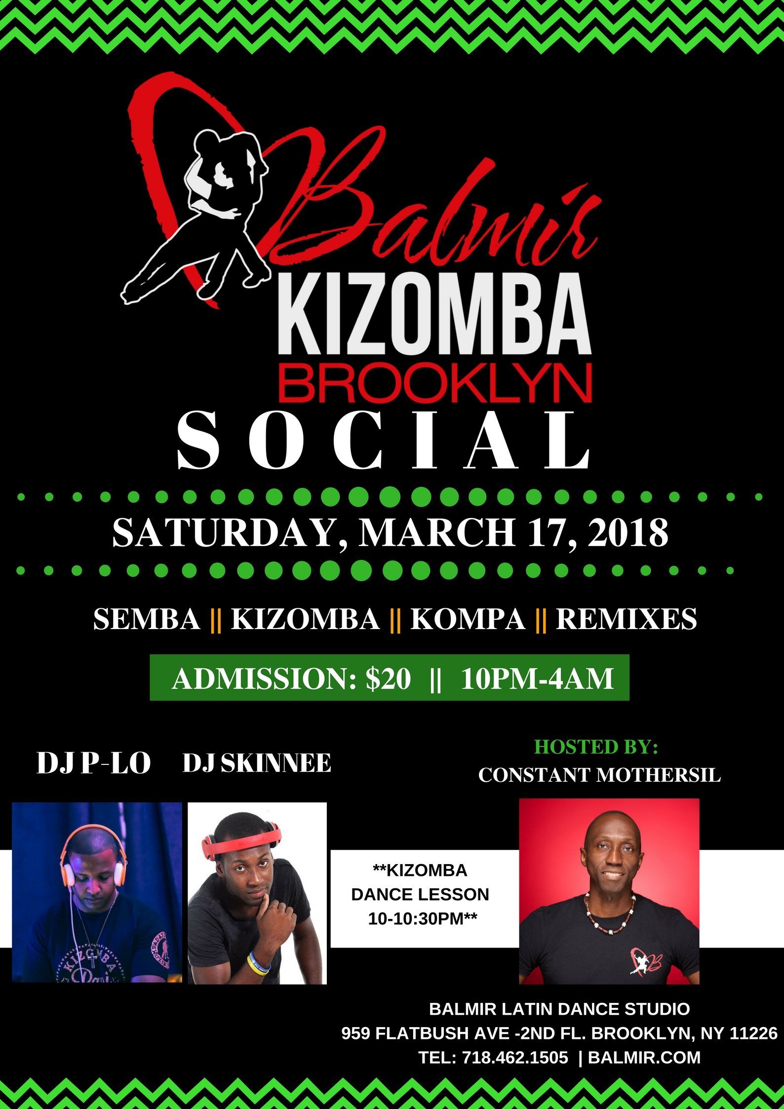 SATURDAY, MARCH 17, 2018 KIZOMBA SOCIAL IN BROOKLYN, NY DANCE PARTY SATURDAY